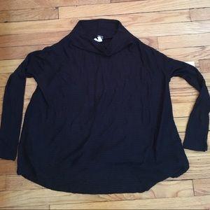 Free People Mockneck Slit Back Black Sweater